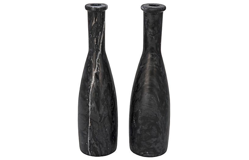 S/2 Moris Marble Candleholders, Black