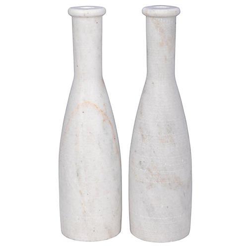 S/2 Moris Marble Candleholders, White