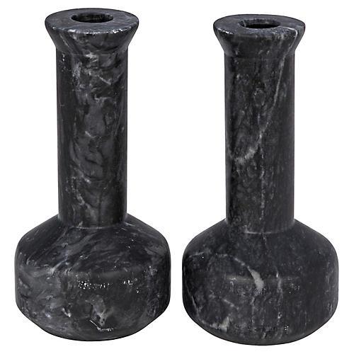 S/2 Milos Marble Candleholders, Black