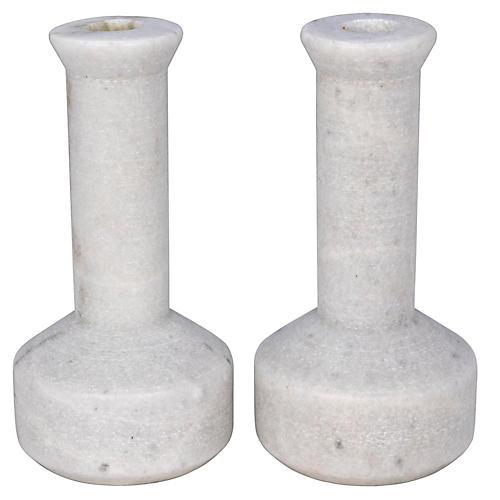 S/2 Milos Marble Candleholders, White