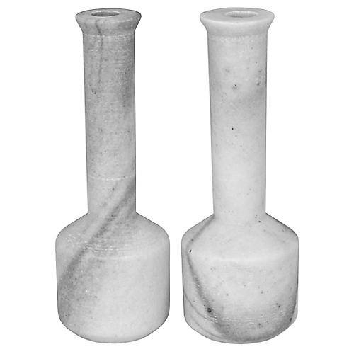 S/2 Markos Marble Candleholders, White