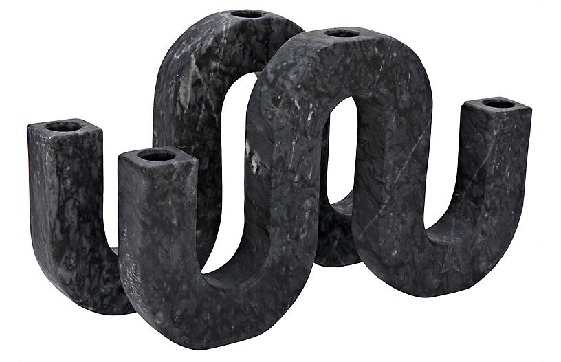 S/2 Corinth Large Marble Candleholders, Black