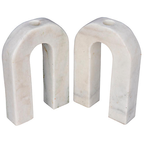 S/2 Corinth Small Marble Candleholders, White