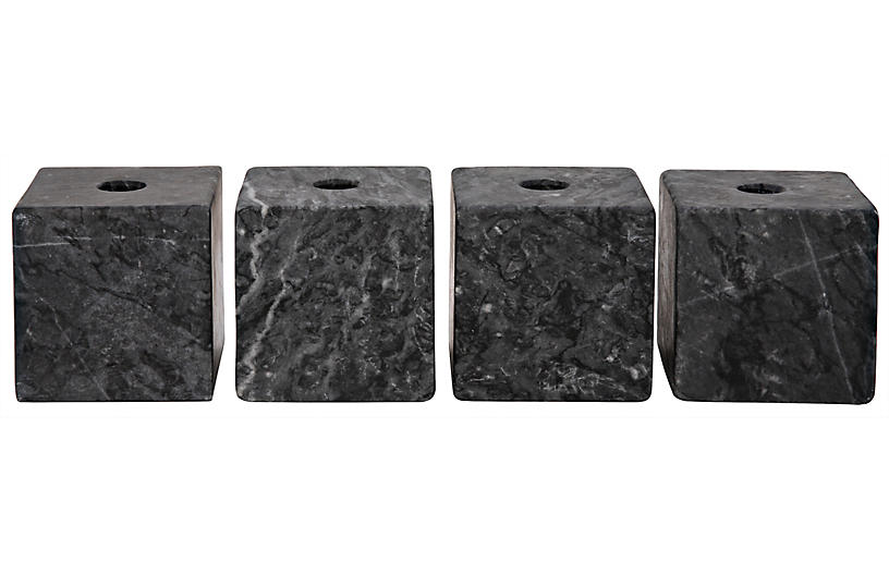 S/4 Cube Marble Candleholders, Black
