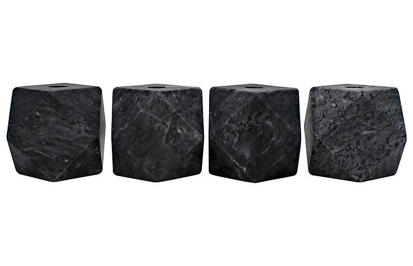 S/4 Polyhedron Marble Candleholders, Black