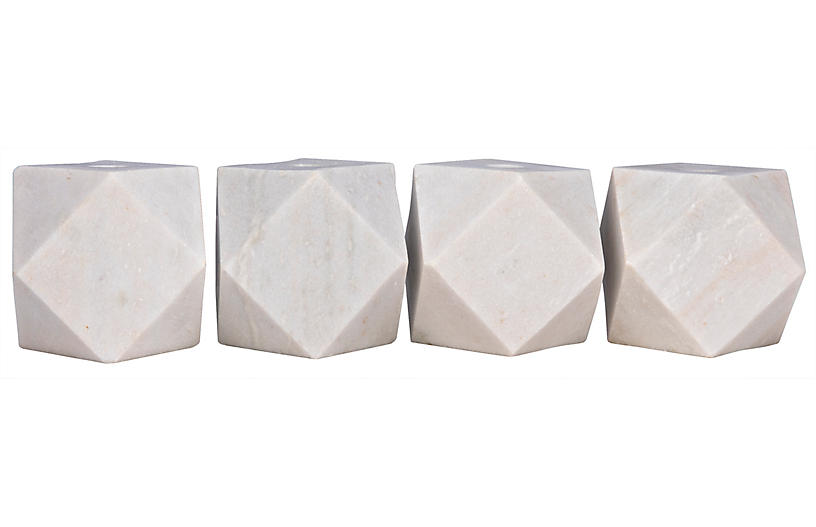 S/4 Polyhedron Marble Candleholders, White