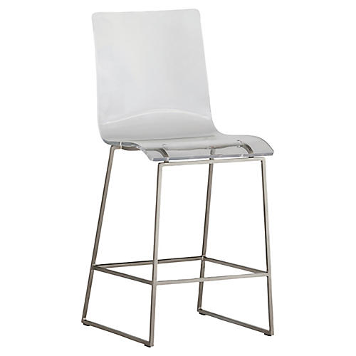King Counter Stool, Silver/Clear