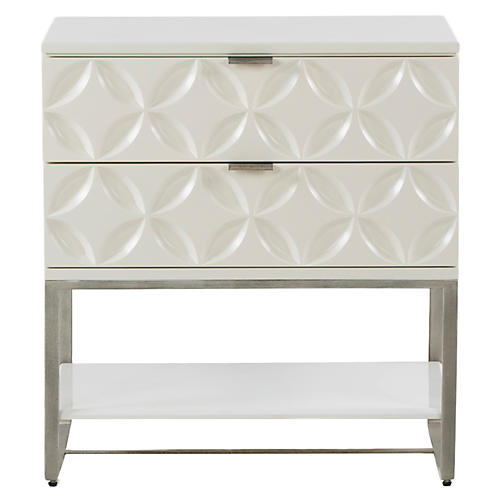 Rosie Nightstand, White Satin