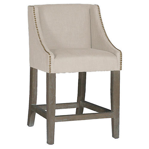 Winston Counter Stool, Dove Sunbrella