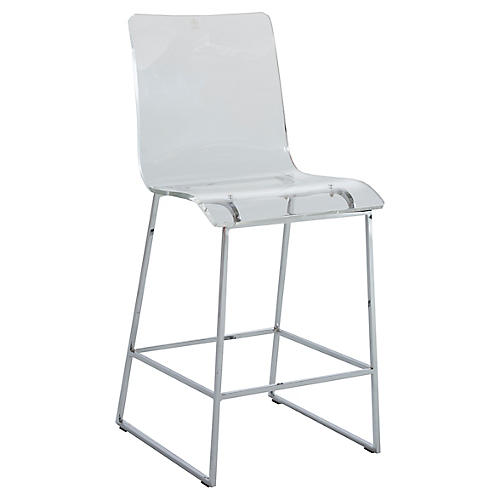 Audie Counter Stool, Silver/Clear
