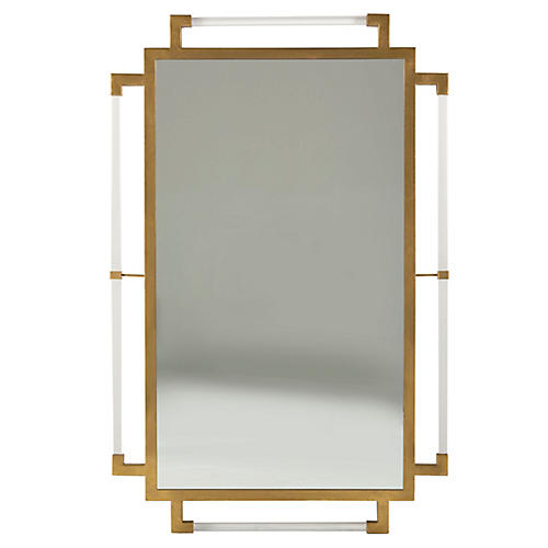 Huxley Wall Mirror, Antiqued Gold/Clear