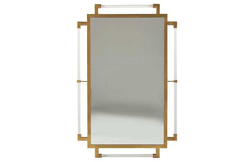 Huxley Wall Mirror, Antiqued Gold/Clear