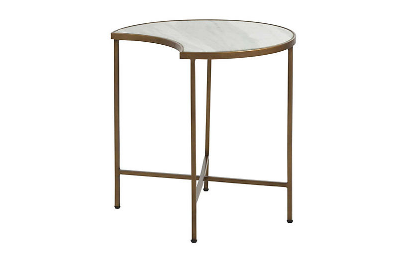 Sibyl Moon Coffee Table, Green Marble/Brass
