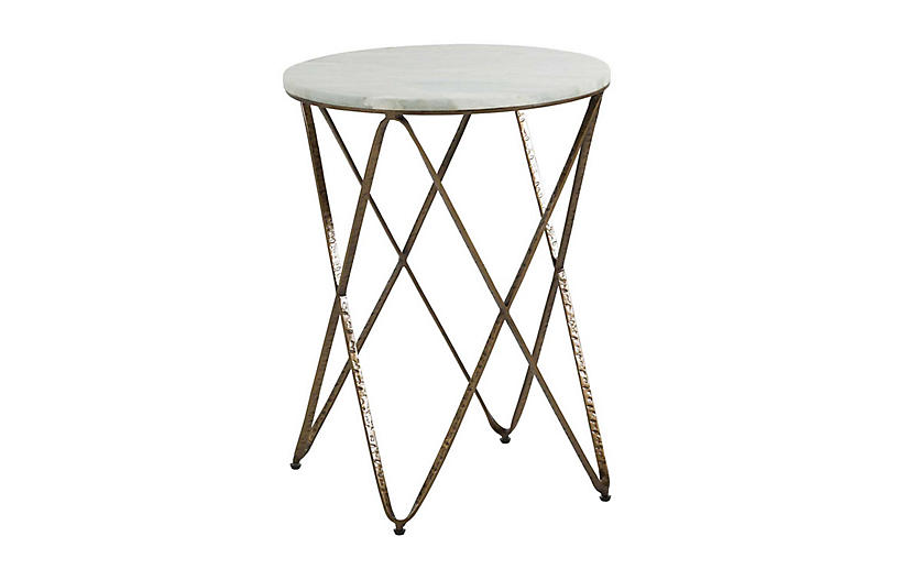 Phoenix Marble Side Table, Vintage Gold/Green