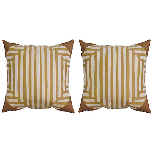 S/2 Kuba Dot Outdoor Pillows, Mustard/White