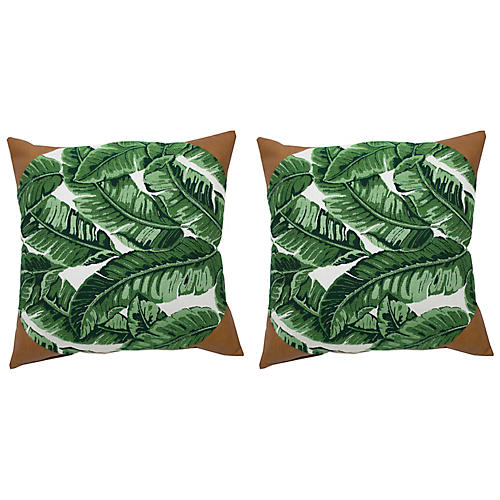 S/2 Tropics Outdoor Pillows, Emerald