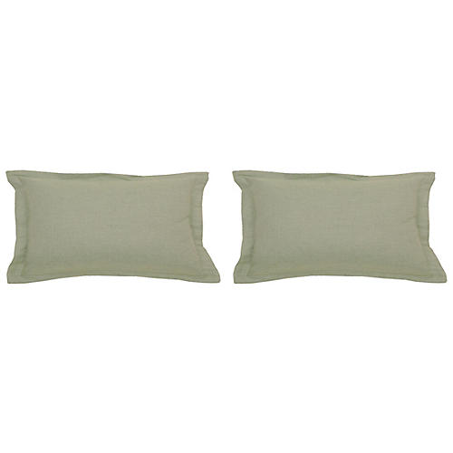 S/2 Premier Outdoor Lumbar Pillows, Sage