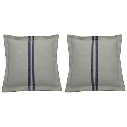 S/2 Placed Stripe Outdoor Pillows, White/Blue