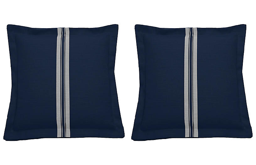 S/2 Placed Stripe Outdoor Pillows, Navy/White