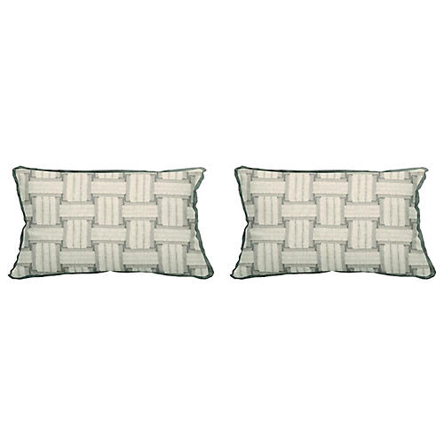 S/2 Arcade Outdoor Lumbar Pillows, Pewter
