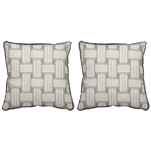S/2 Arcade Outdoor Pillows, Pewter