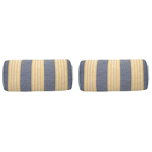 S/2 Bradford Outdoor Bolster Pillows, Navy/Mustard