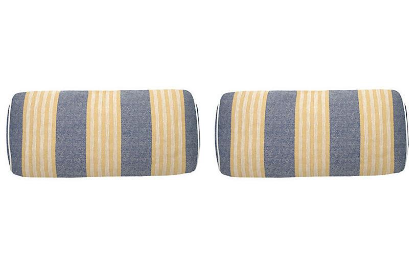 S/2 Bradford Outdoor Bolster Pillows, Navy/Mustard