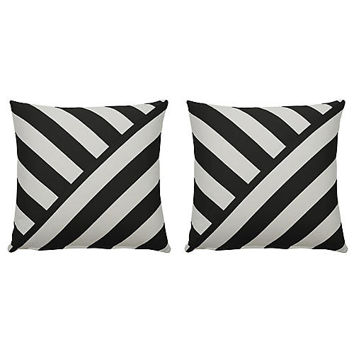S/2 Halo T-Stripe Outdoor Pillows, Midnight/White