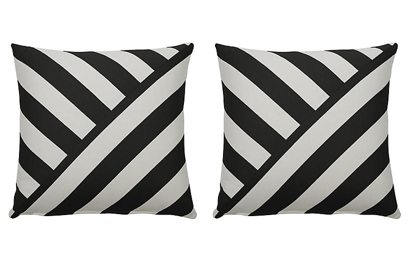 S/2 Halo T-Stripe Outdoor Pillows, Midnight/White
