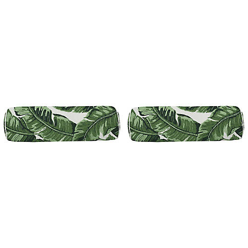 S/2 Tropics Outdoor Bolster Pillows, Emerald