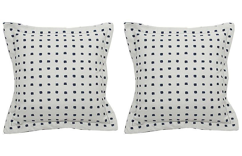 S/2 Kuno Dot Outdoor Pillows, Indigo/White
