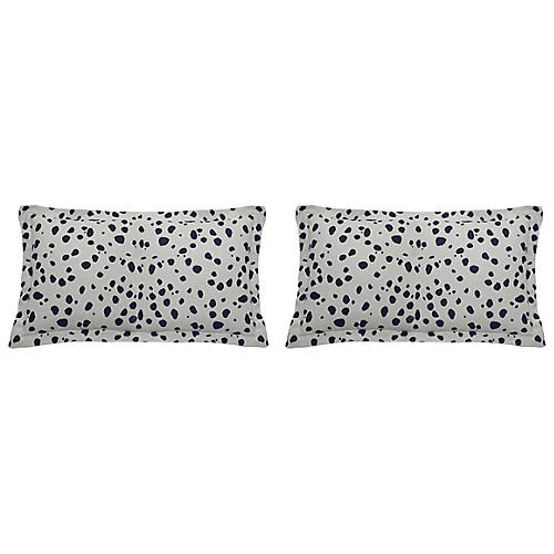 S/2 Spotty Outdoor Lumbar Pillows, Indigo