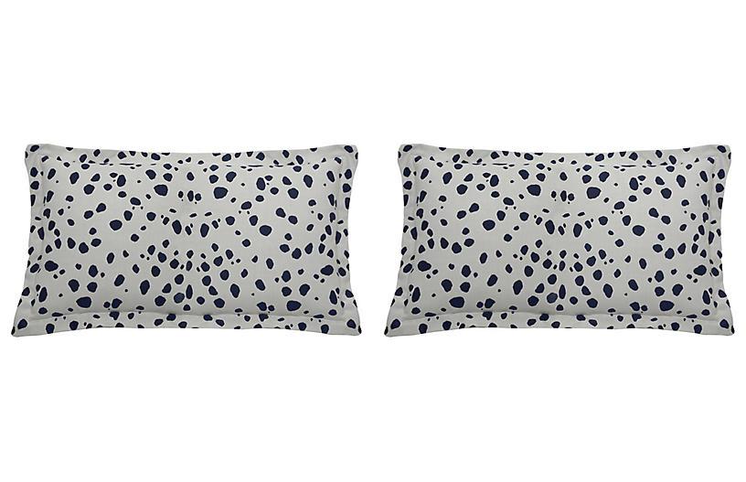 S/2 Spotty Outdoor Lumbar Pillows, Indigo