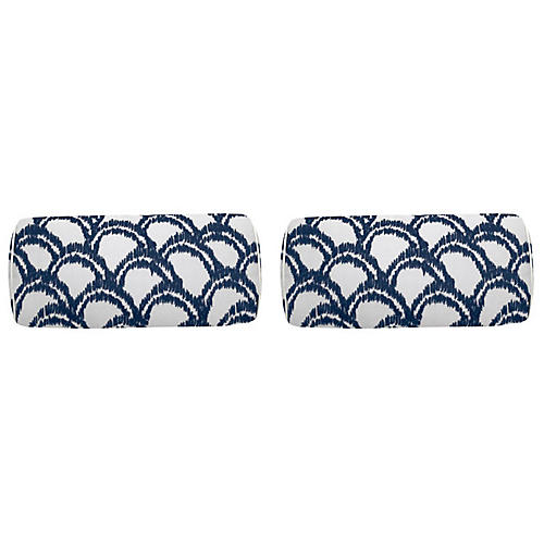 S/2 Alena Outdoor Bolster Pillows, Indigo