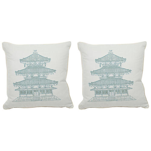 S/2 Pagoda Dynasty Outdoor Pillows, Mist