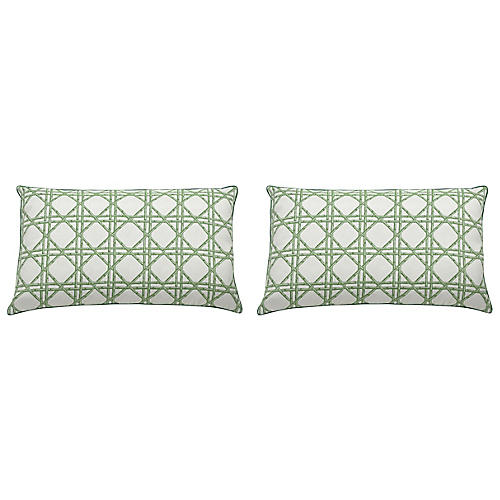 S/2 Reign Outdoor Lumbar Pillows, Emerald