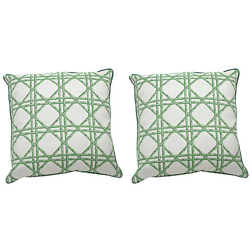 S/2 Reign Outdoor Pillows, Dark Green