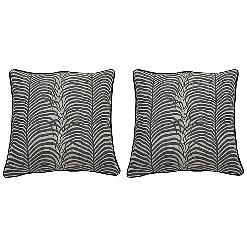 S/2 Sulu Outdoor Pillows, Midnight/White