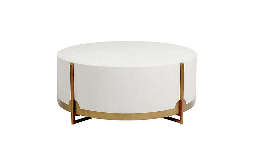 Clifton Coffee Table, White Cerused Oak/Brass