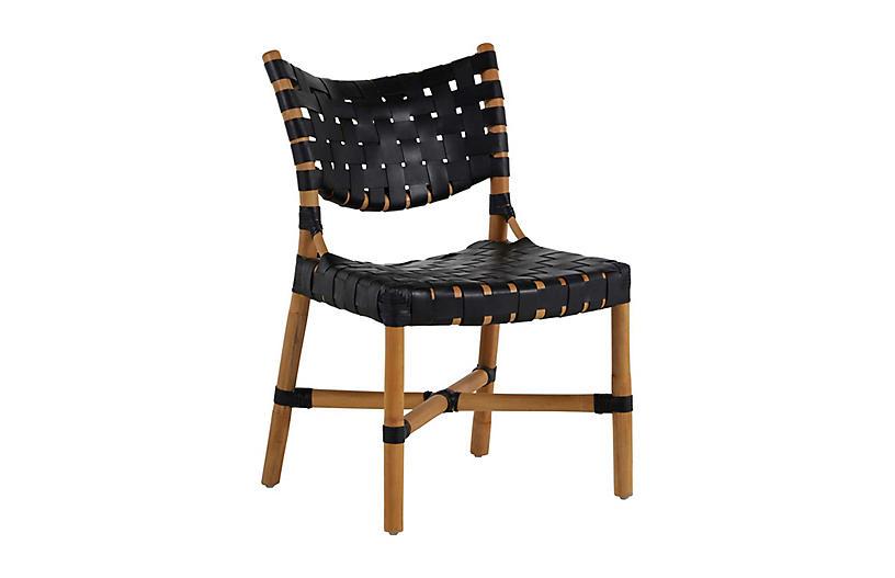 Morrison Rattan Side Chair, Natural/Black
