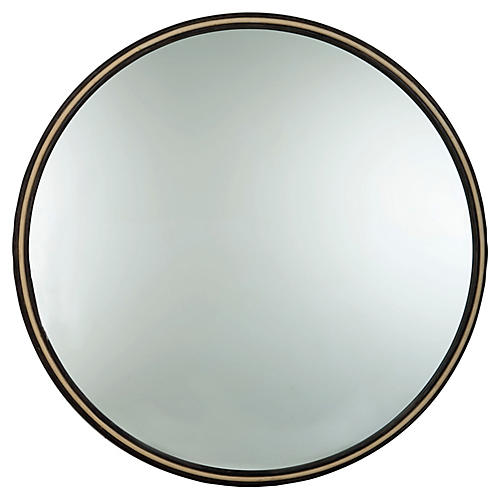 Damon Round Wall Mirror, Natural/Black
