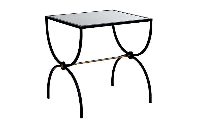 Marion Side Table, Textured Black/Brass