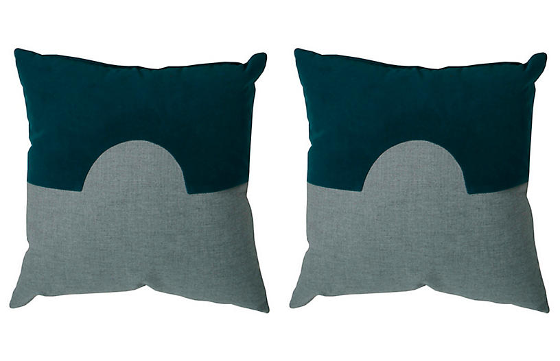 S/2 Eclipse Outdoor Pillows, Teal/Dove