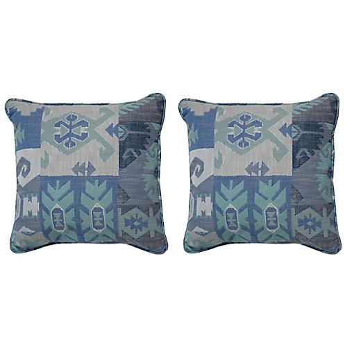 S/2 Kilim Outdoor Pillows, Blue/Gray