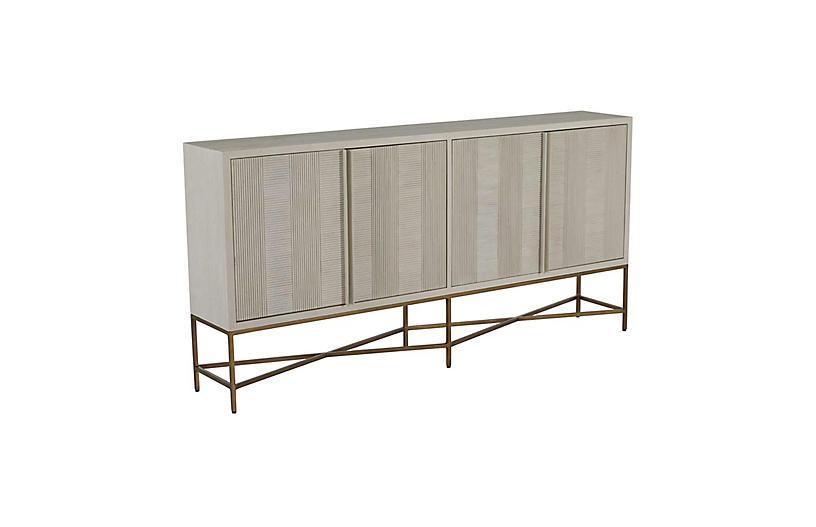 Carol Sideboard, Cerused White/Satin Brass