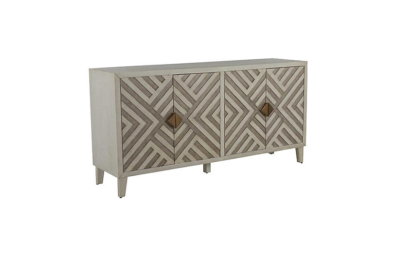 Molena Cabinet, Sesame White/Antique Grey