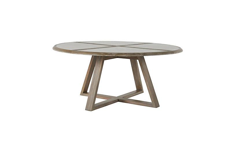Edmond Dining Table, White/Gray