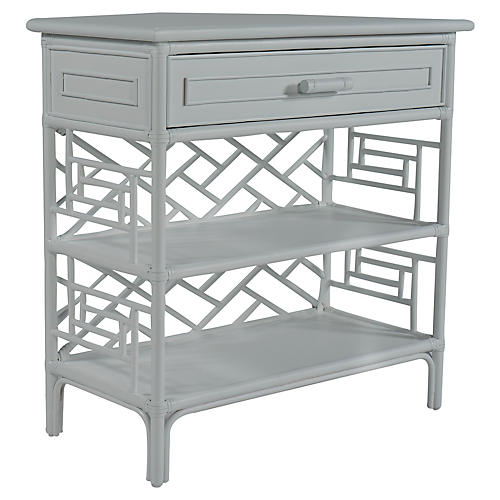 Chippendale Side Table, Light Gray