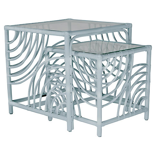 Swirl Nesting Tables, Light Blue