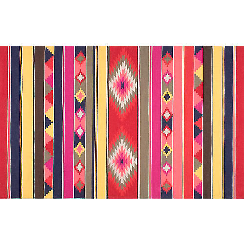 Ladonna Flat-Weave Kilim, Pink/Red